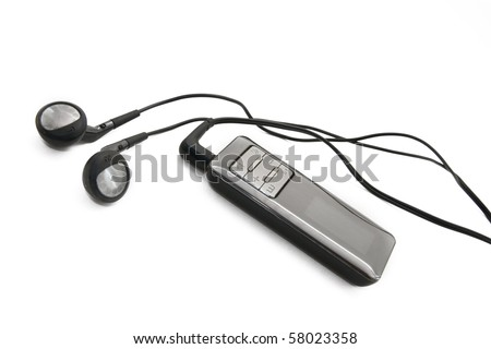 Digital audio player with headphones - stock photo