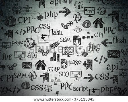 Digital background: Digital Paper with  Hand Drawn Site Development Icons - stock photo