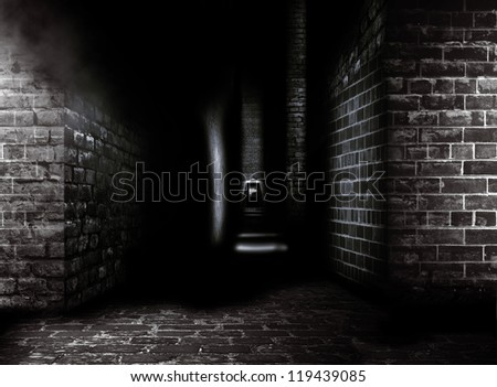 Digital background for studio photographers. Dark street. - stock photo
