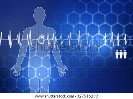 Digital background image with cardiogram on color backdrop - stock photo