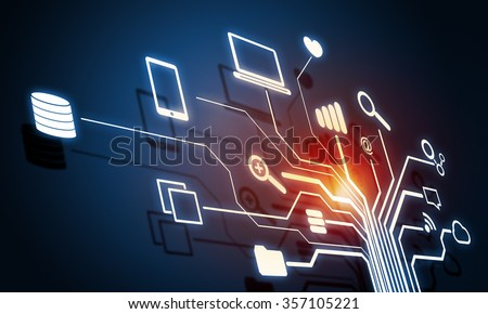 Digital background image with networking connection and cloud computing concept - stock photo
