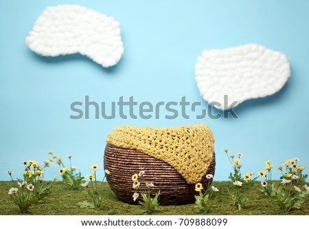 Digital Background Of Newborn Baby Photography Prop Basket