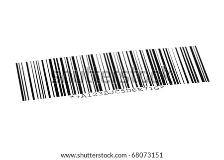 Digital bar code on paper over white background - stock photo