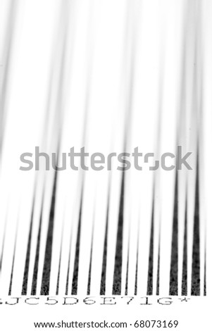 Digital bar code over white background with selective focus