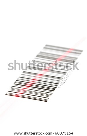 Digital bar code scanned by laser over white background - stock photo