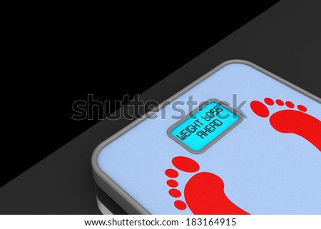 Digital Bathroom Weight Scale with Weight Loss Ahead Sign on a black background - stock photo