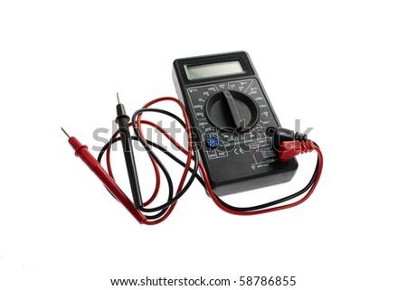 Digital black multimeter isolated on a white background - stock photo