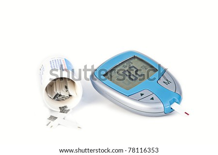Digital blood glucose meter - stock photo