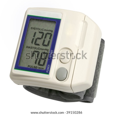 Digital blood pressure gauge over white