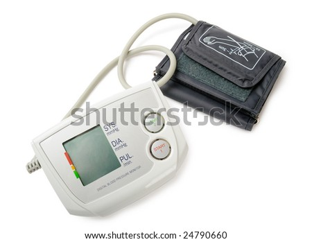 Digital blood pressure monitor isolated on white. Clipping path included. - stock photo