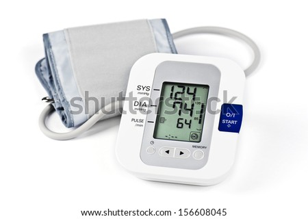 Digital Blood Pressure Monitor on white background - stock photo