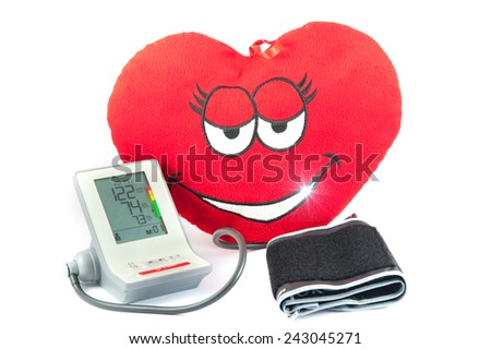 Digital Blood Pressure Monitor with Heart - stock photo