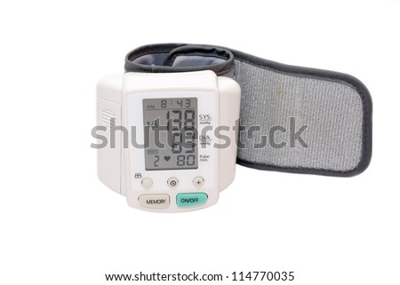 Digital blood pressure wrist tonometer monitor display screen isolated on white - stock photo