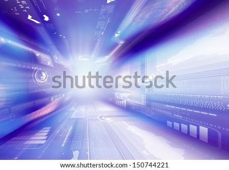 Digital blue background image with technology symbols - stock photo