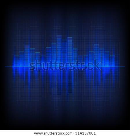 Digital blue light Equalizer background. Raster version. - stock photo