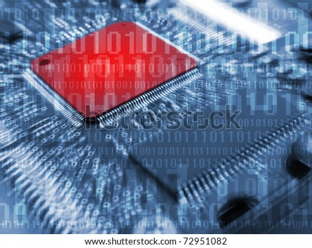 Digital board with binary code - stock photo