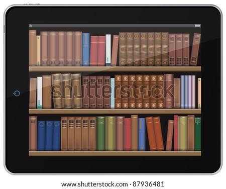 Digital Books. Book Shelf on Tablet PC. - stock photo