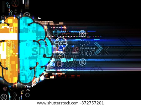 digital brain communication illustration, abstract technology background