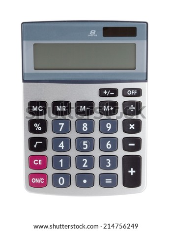 Digital calculator. Isolated on white backgound - stock photo