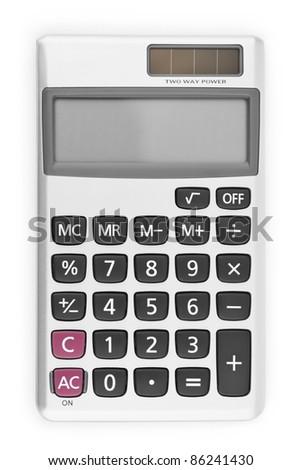Digital calculator isolated on white background - stock photo