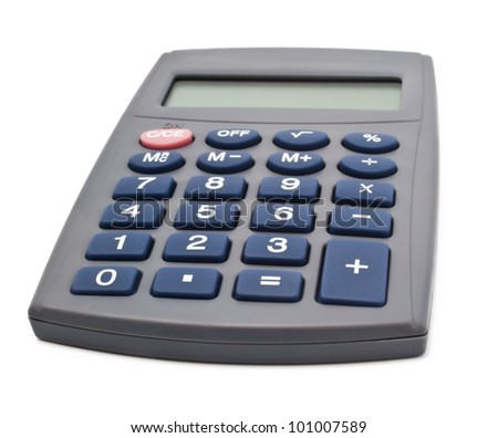 Digital calculator on white background