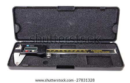 Digital Caliper and case - stock photo