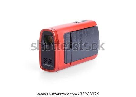 Digital camcorder isolated on white background - stock photo