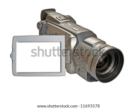 digital camcorder isolated on white with empty copyspace on the screen ready for your picture - stock photo