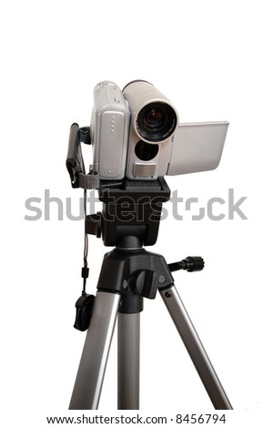digital camcorder on a tripod - stock photo
