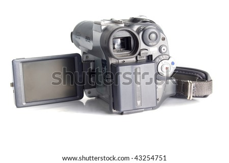 Digital camcorder with open LCD display isolated