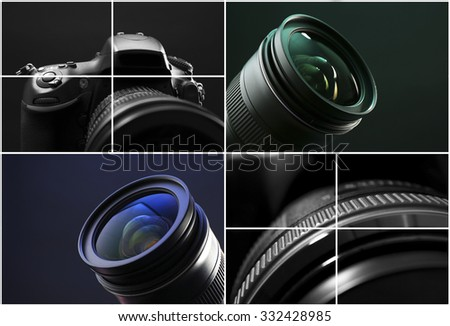 Digital camera collage - stock photo