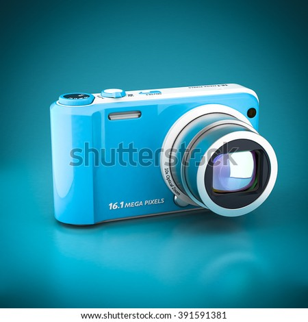 Digital camera 3d model image on blue background