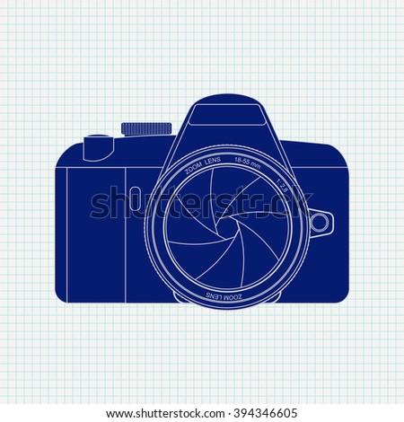 Digital Camera Icon on Notebook sheet  background.   illustration. Raster version - stock photo