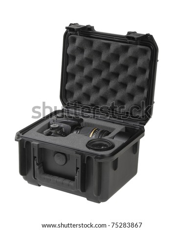 Digital Camera in a Shockproof Case isolated on white