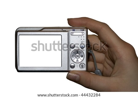 Digital camera in hand, isolated on white. High quality in Tiff.