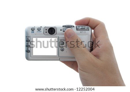 Digital camera in hand with blank white screen (easy to add any image)