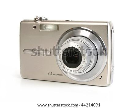 Digital camera isolated on white background - stock photo