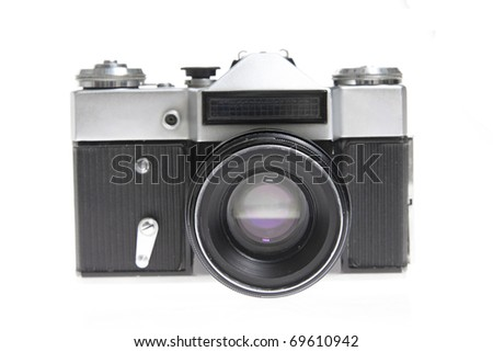 Digital camera isolated on white background - stock photo