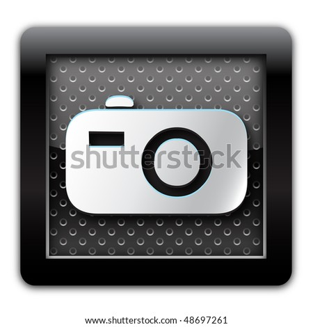 Digital camera metal icon - stock photo