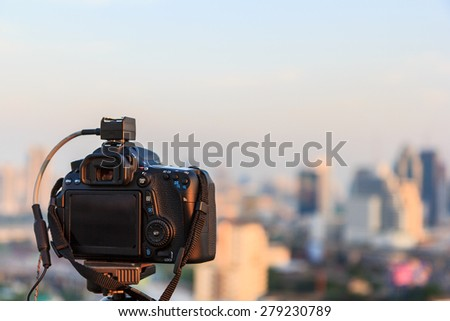 Digital camera on day view and city