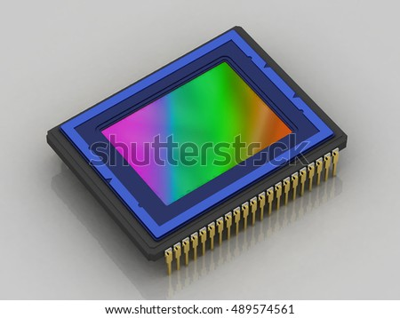 Digital camera sensor,  side view, isolated, concept, 3D rendering
