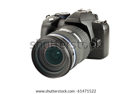 Digital camera with lens, isolated on white