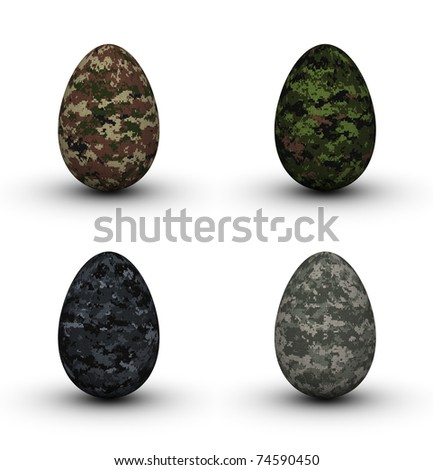 Digital Camouflage Easter Eggs Set (forest, urban, universal and desert textures)