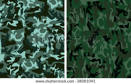 digital camouflage seamless patterns (forest, urban, universal colors) - stock photo