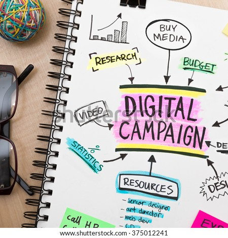 Digital campaign road map plan on sketch book - stock photo