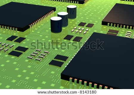Digital circuit with components - stock photo