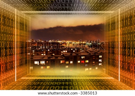 Digital city. Binary tunnel and city at night - stock photo