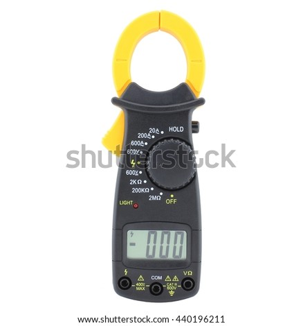 Digital clamp meter, isolated on white - stock photo