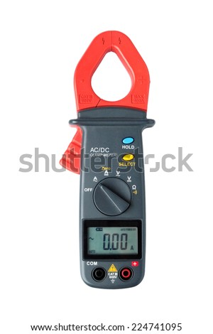Digital clamp meter isolated on white background - stock photo