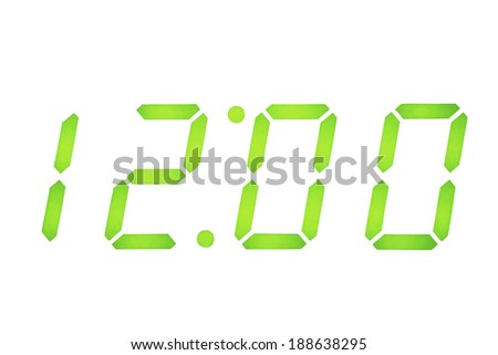 Digital Clock Display set on 12 O'clock with Background Clipping Path - stock photo
